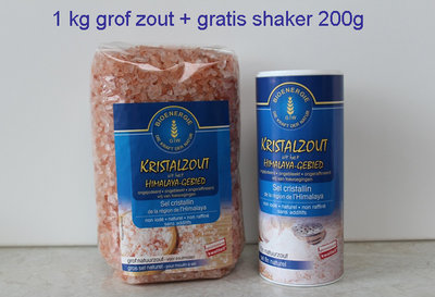 1 kg grof zout + 1 shaker